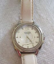 Large Faced Rhinestone Accented COACH White Watch