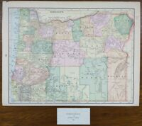 "Vintage 1900 OREGON Map 14""x11"" ~ Old Antique Original CORVALLIS ALBANY TOLEDO"