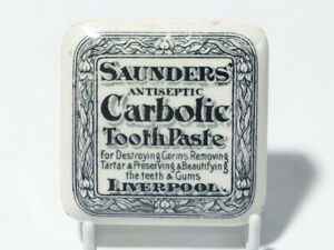 Square SAUNDERS Antiseptic Carbolic Tooth Paste LIVERPOOL  Pot Lid RESTORED #PL7