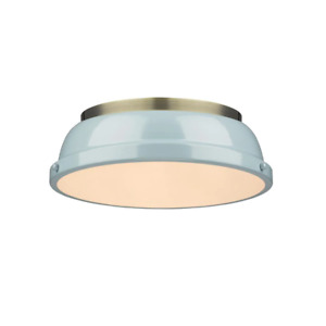 Flush Mount Light Duncan LED Dimmable Durable Aged Brass/Sea Foam Shade Indoor