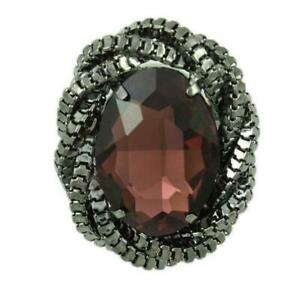 Large Garnet Colored Oval Acrylic Stone Adjustable Ring - RF304