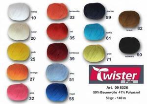Twister Polo Uni 50g 140 Meter Baumwolle Polyacryl Wolle Garn
