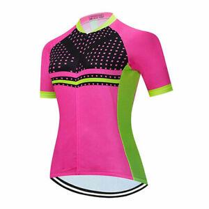 Ladies Cycling Jersey Full Zip Short Sleeve Women's Summer Bike Cycle Top Pink