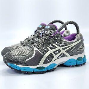 Asics Gel-Nimbus 14 Athletic Running Shoe Womens Size 6 D T292N Gray White Blue