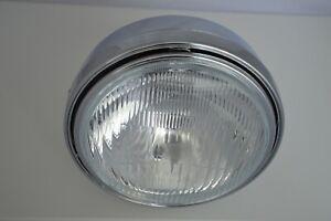 "Motorcycle Headlight 8"" Chrome Side Mount 55w Hi Lo Beam Retro Classic Style"
