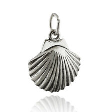 Clam Shell Charm - 925 Sterling Silver - Beach Ocean Sand Seashell Sea NEW