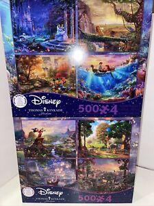 Thomas Kinkade Disney 4 in 1 Puzzle 500 piece Cinderella Mermaid Mickey Pooh