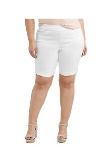 New Terra Sky Size Shorts 0x 14w White Mid Rise Tummy Control Relaxed Fit