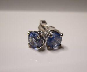 Ceylon Blue Sapphire Stud 14K WG Certified 1.7 TCW 5.5mm Earrings White Gold Box