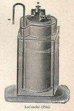 A7389 Leclanché (Pila) - Stampa Antica del 1928 - Xilografia
