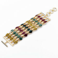 Bracelet Large Gold Multi Row Multicolored Enamel Red Blue Green Retro CT2