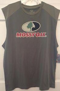 Mens Muscle T-shirt Green Mossy Oak Logo Screen Print Shoulder Panels Soft NWT M