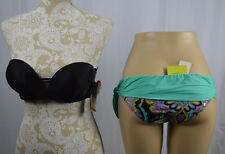R COLLETION RAISINS Large White Paisley Low Rider Bikini Swimsuit Bottoms