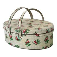 Vintage Oval Tin w Handles Shabby Roses Rosebuds Sewing Cookies Lunchbox