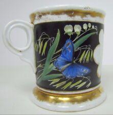 Antique Bird Butterfly Shaving Mug decorative occupational flowers plants handle