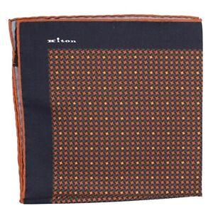 100% New KITON Silk Pocket Square Brown Houndstooth $215 Sartorial - 190692