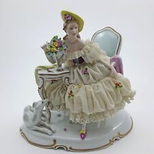 Dresden Lace Lady Love Letter & Whippet Greyhound Borzoi Figurine Unterweissbach