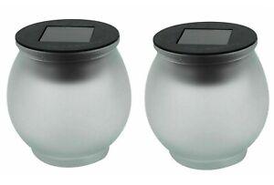 2x Solar LED Garden Decoration Glass Crystal Sun Jar Lights Patio Table Lamp New