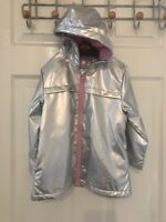 Girls Holographic Iridescent Shiny Silver Raincoat Hooded Jacket 2-3 Years NEW