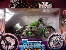 New in Box Jesse James Weat Coast Choppers El Diablo 2 1:18 Scale lime green