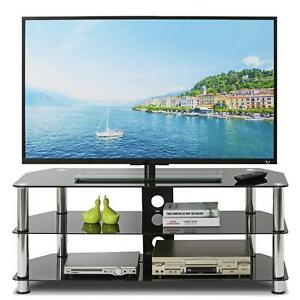 TV Stand Table for 32''-55'' TV Black Glass 100cm - TV Unit Living Coffee Table