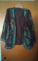 015 Womens Embroidered Tunic Style Button Front Brown Top Long Sleeve Tibal?