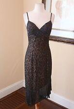 Vtg Asymmetrical Hem Black Leopard Print Silk Beaded Sequin Dress S Formal Party