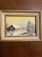 K Beiber original oil on canvas painting - Winter Scene -7.5x5.5