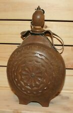 Vintage hand made folk carved wood brandy flask bottle