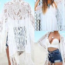Women Lace Blouse Top Beach Cover Up Kaftan Cape Kimono Cardigan Jacket Coat UK