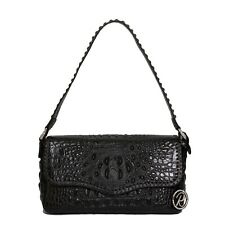 Raviani Satchel Bag Top Grain Solid Black Croco Cowhide Leather