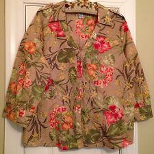 'Jamaica Bay' Cotton Poly Blend 3/4 Sleeve Floral Tropical Shirt -Size XL - EUC