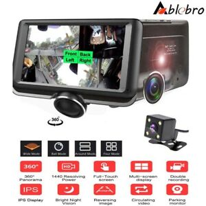 "4.5"" Dash Cam Car DVR 360° Panoramic HD Video Recorder Dual Lens Parking Camera"