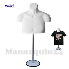 Male Torso Mannequin Body Form Chest Long  - White Men Form +Stand +Hanging Hook