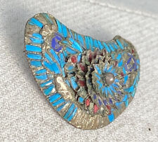 Kingfisher Feather Brooch On Silver Antique Chinese Pin Purple