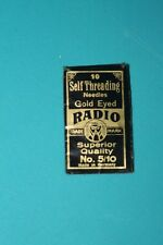 Antique pack of Self Threading needles Gold eyed made in Germany early 1900's