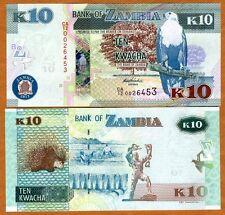 Zambia, 10 Kwacha, 2012 (2013), P-New, UNC   New Revalued Currency