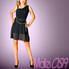 Miniabito elegante MADE IN ITALY nero cerimonia abito vestito velato asimmetrica