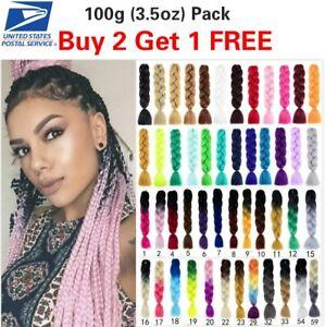 "24"" 100g Jumbo Hair Extensions kanekalon Braiding Hair Box Twist Braid For Human"