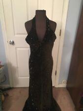 Carmen Marc Valvo Black/Brown Evening Gown Beaded Velvet  Halter V-Neck Sz10 EUC