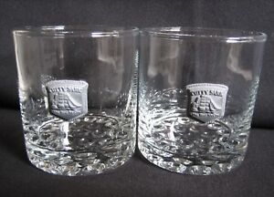 set 2 CUTTY SARK SCoTCH Whiskey double ROCKS GLASSES pewter logo