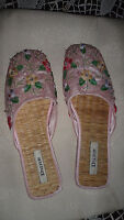 Gorgeous DUNE flat slip on mule type sequinned Sandals Size UK 5 EU 38