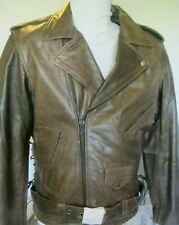 "NEW Mens Brown Distress Armored Vented Leather Motorcycle Jacket 46"" CHEST= XL"