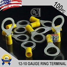 """100 PACK 12-10 Gauge 1/2"""" Stud Insulated Vinyl Ring Terminals Tin Copper Core US"""
