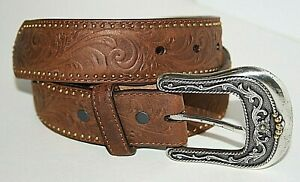"Tony Lama Brown Leather Belt Unisex Western 30"" C50649 Design Rivets Great Shape"