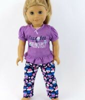 """Doll Clothes 18"""" Lavender Cupcake Pajamas Fits American Girl Dolls"""