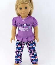 "Doll Clothes 18"" Lavender Pajama Pants Shorts Top Cupcake  Fits AG Dolls"