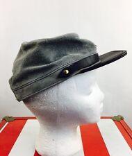Vintage Leather Civil War Hat Snapback Boho Rocker Metal Punk 70s 80s 90s