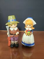 "Vintage Napcoware Thanksgiving Pilgrim Boy Girl Figurines C8228. App 5 3/4"" Tall"
