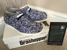 SIOUX GRASHOPPER MOCCASIN SHOES / SNEAKERS BLUE & WHITE PAISLEY UK SIZE 3